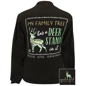 Girlie Girl Originals Family Tree Deer Stand Long Sleeve T-Shirt