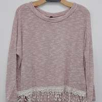 Dusty Rose Fringed Knit Top