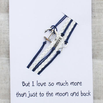 But I Love You Much More Then Just To The Moon And Back Gift Card Unisex Heart Infinity Firnedship Bracelet