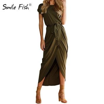 Summer Maxi Dress Women Short Sleeve O-neck Sexy 2017 Long Dresses Open Slit Casual Sundress Boho Solid Vestidos Plus Size GV718