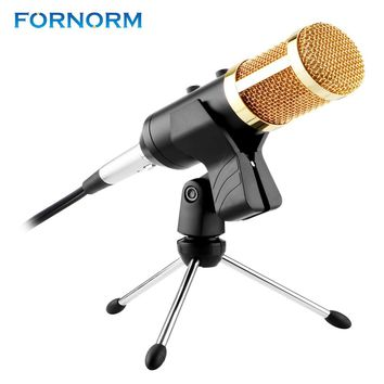 FORNORM Condenser Microphone Professional Desktop Studio USB Microphone With Stand Tripod For Computer Karaoke Video Recording
