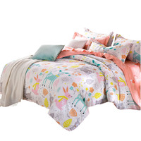 Cartoon Deers Bunnies Print Bedding sets Kids Bedlinen 100% Cotton Twin Queen King size 3/4pcs duvet cover sets