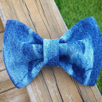 Bleached Denim Hair Bow by DenimAndStuds on Etsy