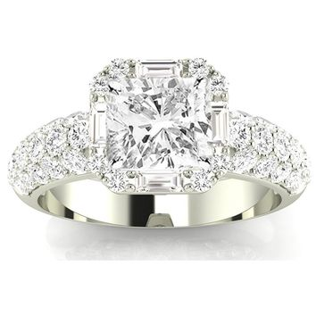 GIA CERTIFIED | 1.76 CTW Designer Popular Halo Style Baguette And Pave Set Round Diamond Engagement Ring w/ 0.96 Ct Cushion Cut J Color VS1 Clarity Center (Platinum, Yellow, White, Rose)