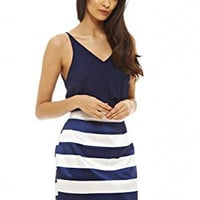 Navy Sleeveless Top and Blue Stripe Skirt 2 in 1 Dress