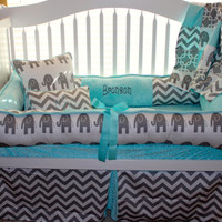 Elephant Gray & aqua Baby Bedding Perfect for a gender neutral nursery
