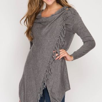 Fringe Wrap Cardigan - Grey