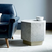 Geo Hex Side Table - Slate