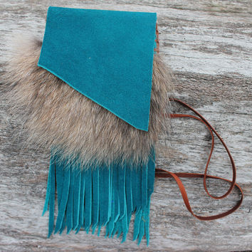 Turquoise Medicine Bag with Coyote Fur, Buffalo Leather, Blue Laced Agate Cabochon, Fringed Necklace Pouch