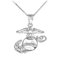 925 Sterling Silver US Marine Corps Small Military Pendant Necklace, 16""