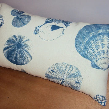 Blue and Cream Sea Shells Decorative Lumbar Pillow Cover - Available In Three Sizes