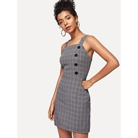 Thick Strap Buttoned Plaid Dress