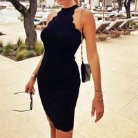 Summer Hot Sale Women Sexy Halter Pure Black Sleeveless Slim Dress