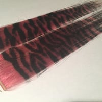 "Set of two pink & black 13"" Zebra Print Human Hair Extension"