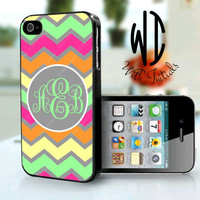 Personalized iPhone 4/4S Case - Chevron Multi Colored - iPhone 4/4S, iPhone 5, Samsung Galaxy 3, iPod Touch 4th Generation