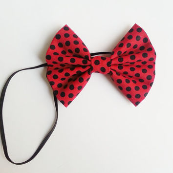 Ladybug Headband, Small Hairbow Headband, Toddler Headband, Baby Headband, Spring Headband, Minnie Mouse Inspired