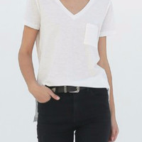 Cotton Slub V-Neck Tee in Off White