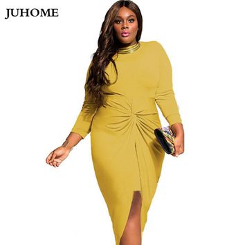 runway dress 2017 women high quality Women's Tunic party dress plus size yellow clothes robe femme office bodycon robe vestidos