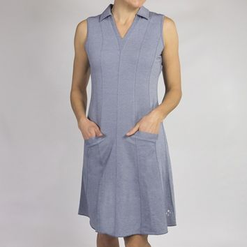 JoFit Ladies & Plus Size Spin Sleeveless Golf Dresses - Madras (Chambray)
