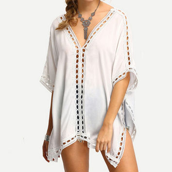 Hollow Out Lace Patchwork Plus Size Batwing Sleeve Irregular T-shirts [4970290180]