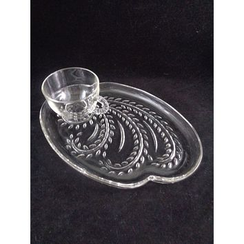 "Federal Glass ""Homestead"" Snack Plate Set  S/9"