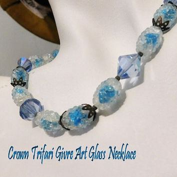 Crown Trifari Givre Art Glass Necklace Mid Century Bumpy Bead Crystal Sugar Bead Beaded Necklace Choker Hollywood Wedding Fashion Jewelry