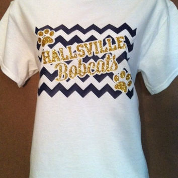 Chevron School Spirit T-Shirt with Your Team and Mascot 2 color with GLITTER wording.  Popular for Football, Basketball, Baseball and more