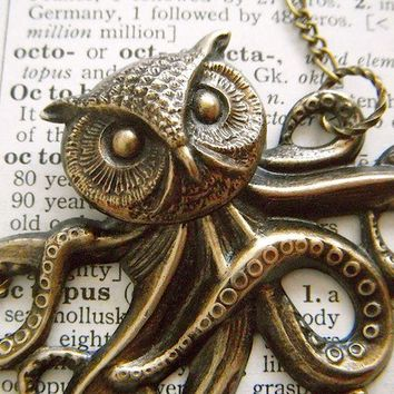 Owl Octopus Necklace Victorian Monster The Owlctopus Half Owl Half Octopus Rustic Brass Original Design Gothic Steampunk Jewelry