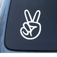 PEACE SIGN - Hand - Car, Truck, Notebook, Vinyl Decal Sticker #1111 | Vinyl Color: White