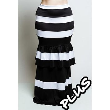MERMAID HORIZONTAL STRIPES BLACK AND WITH RUFFLED BY THE KNEE LONG SKIRT.