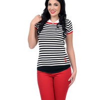 Collectif Black & White Striped Anchor Adora Knit Top