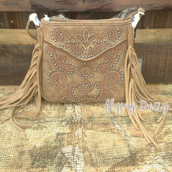 Fringe and Scroll Crossbody Purse