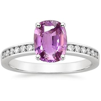 ANI 18K White Gold (AU750) Women Wedding Ring Certified Natural Pink Sapphire Oval/Rectangle Shape Lady Engagement Diamond Ring