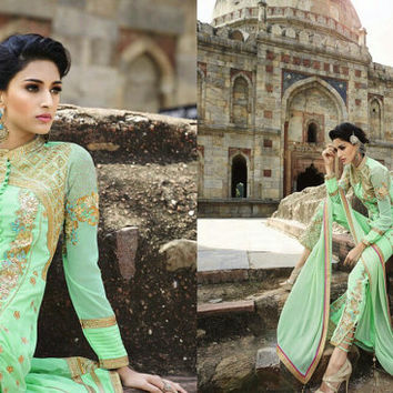 Light Green color Georgette fabric Designer Suit -Lawn Suits, Pakistani Lawn Suits, Anarkali suit, Vardhita sarees, Designer Suit