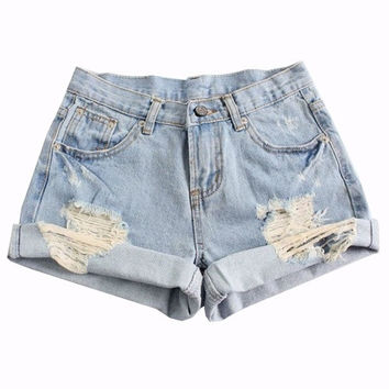 Cuffed Ripped And Washed Denim Shorts = 1929764804