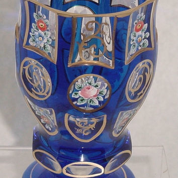 999506 Blue Cased Glass With 8 Each Rectangle, Round, U Shaped, Flat On Stem, Flat On Base Cuts, Filed With Painted Flowers, Fancy Gold, Gold Lines