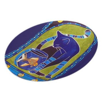 Blue Cat With Goldfish Whimsical Cat Art Melamine Plate