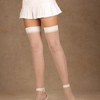 White Sheer Thigh Highs Stockings, OS  EM1725