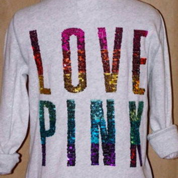 New Victoria's Secret PINK Bling Rainbow Sequin Hoodie Jacket. Limited Edition.S