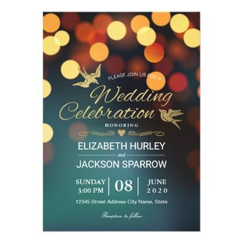 Chic Teal Gold Bokeh Glitter String Lights Wedding Card
