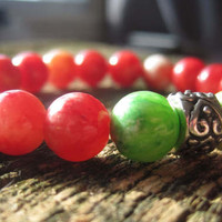 Peach and Green Beaded Stretchy Stacking Bracelet