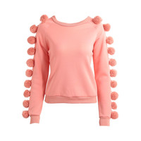 Women Cute Pom Poms Sleeve Hoodies Sweatershirt Fleece O Neck Long Raglan Warm Jumper Top Pullover Pink Ladies Tracksuit SM6