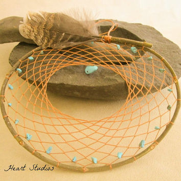 Turquoise dream catcher - large - natural - willow branch - 8 inch - Native American style