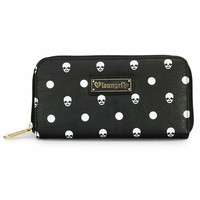 Skull Polka Dot Zip Wallet by Loungefly (Black)