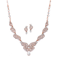 Rose Gold Art Deco Wedding and Prom Jewelry Set