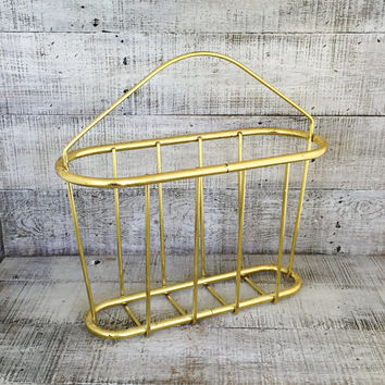 Brass Magazine Rack Hollywood Regency Gold Tone Magazine Holder Vintage Record Holder Mid Century Magazine Rack Large Brass Basket