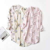 Hot sale Spring cute nightgowns women Long sleeve simple 100% brushed cotton sleepshirts Sexy nightdress women nightwear