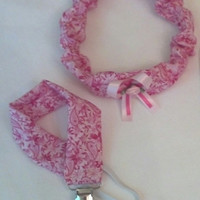 Carlykins Boutique Baby & Toddler Pink and Hot pink Hair Bow Headband and Pacifier Holder