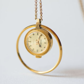Gold plated lady's watch pendant, necklace watch Seagull, women's watch tiny, watch pendant with ring rare design