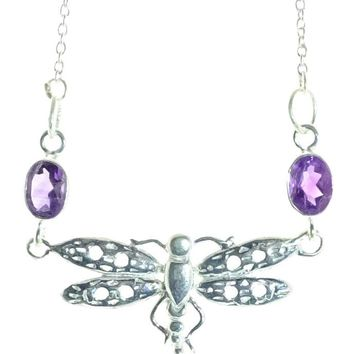 Sterling Silver Amethyst Dragonfly Necklace
